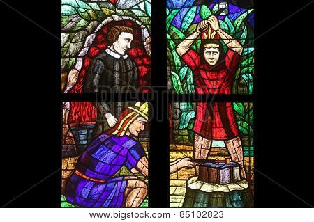 VIENNA, AUSTRIA - OCTOBER 11: America Window, Stained glass in Votiv Kirche (The Votive Church). It is a neo-Gothic church in Vienna, Austria on October 11, 2014