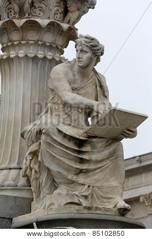 VIENNA, AUSTRIA - OCTOBER 11,2014: Detail of Pallas-Athene fountain in front of Austrian parliament. Figures symbolize most important rivers of the Austro-Hungarian Empire. Vienna, Austria