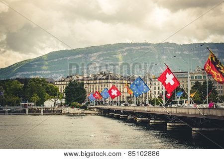 Geneve, Switzerland - 11 May 2014:  bridge with the European flags in the center of Geneva, Switzerland