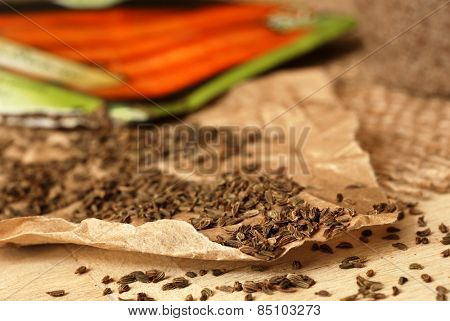 Garden carrot seeds spilling from packet onto parchment paper.  Macro with shallow dof.  Selective focus limited to seeds at front edge of paper.