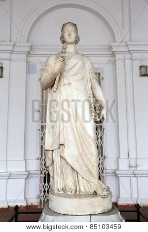 KOLKATA, INDIA - FEBRUARY 15: Statue of Queen Victoria, Indian Museum in Kolkata, on February 15, 2014