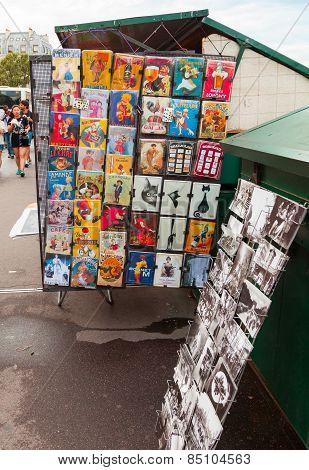 Paris Souvenir Shop Counter With Colorful Postcards