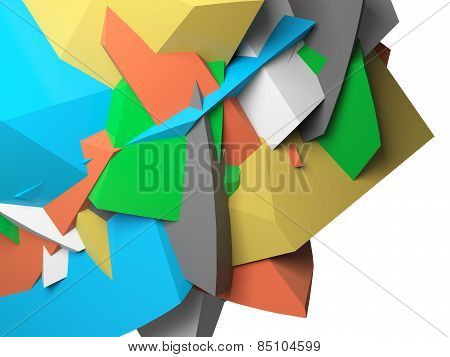 Abstract Colorful  Chaotic Polygonal 3D Fragments