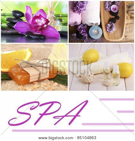 Flower and citrus spa compositions in collage