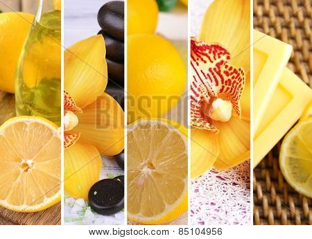 Lemon and orchid spa compositions in collage