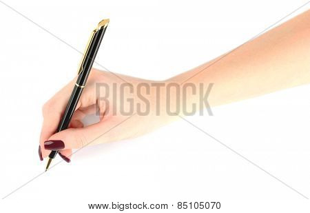 Ballpoint pen in female hand isolated on white