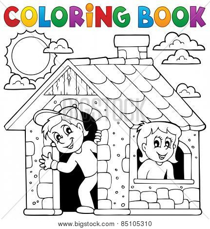 Coloring book children playing in house - eps10 vector illustration.