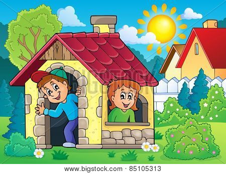 Children playing in small house theme 2 - eps10 vector illustration.