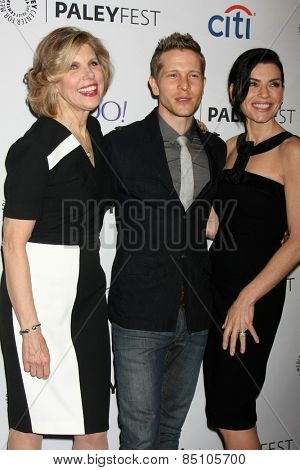 LOS ANGELES - MAR 7:  Christine Baranski, Matt Czuchry, Julianna Margulies at the PaleyFEST LA 2015 -