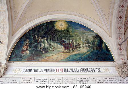 MARIJA BISTRICA, CROATIA - JULY 14: Votive paintings, pilgrimage Sanctuary, Assumption of the Virgin Mary in Marija Bistrica, Croatia, on July 14, 2014