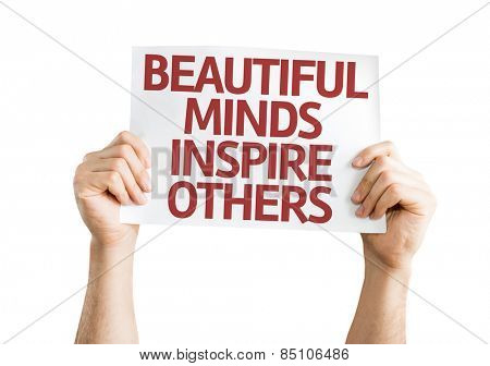 Beautiful Minds Inspire Others card isolated on white