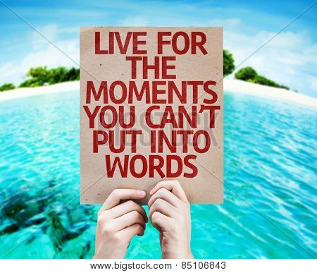 Live for the Moments You Can't Put Into Words card with beach background
