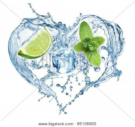 Valentine Heart from water splash, mint, ice and lime. Mojito