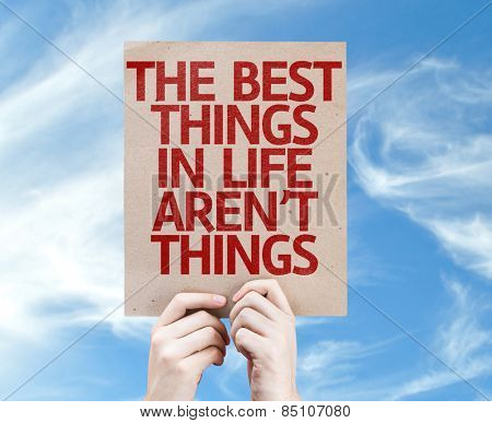The Best Things in Life Aren't Things card with sky background