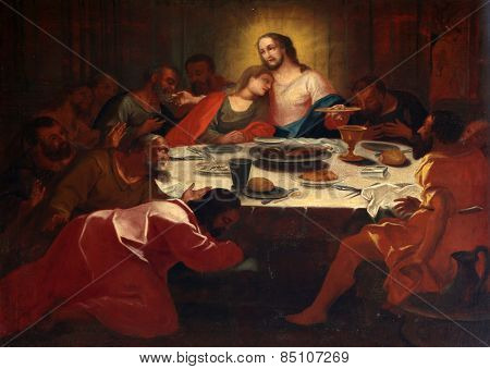 ELLWANGEN, GERMANY - MAY 07: Last Supper , Basilica of St. Vitus in Ellwangen, Germany on May 07, 2014.