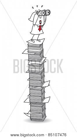 My point of view on a paper stack. Karen is with binoculars on a paper stack. It's a metaphor