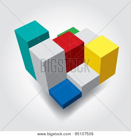 vector abstract color cubes with dashed hidden lines