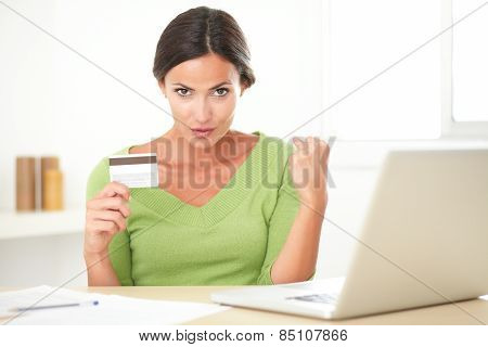 Cheerful Lady Using Her Laptop For Online Buying