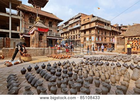 BHAKTAPUR, NEPAL - APRIL 5: Bhaktapur pottery market square on April 5, 2009 in Bhaktapur, Nepal. Bhaktapur is listed as a World Heritage Site by UNESCO.