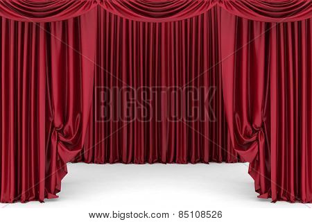 Open red theater curtain. 3d illustration