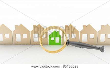 Magnifying glass selects or inspects a eco-home in a row of houses. Concept of search of house for residence, real estate investment, inspection.