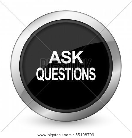 ask questions black icon