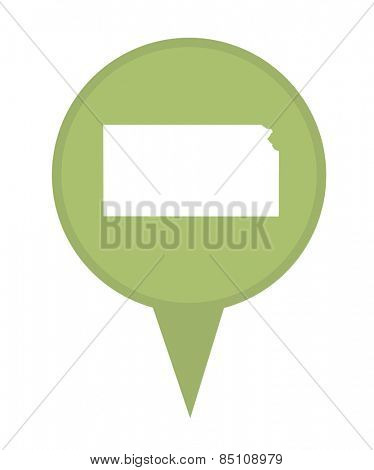 American state of Kansas marker pin isolated on a white background.