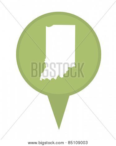 American state of Indiana marker pin isolated on a white background.