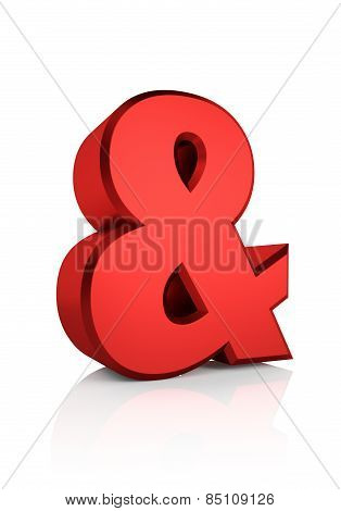 3D Red Ampersand Sign