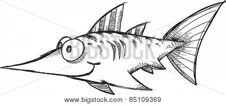 Doodle Sketch Swordfish Vector Illustration Art