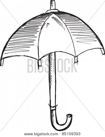 Doodle Sketch Umbrella Vector Illustration Art