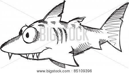 Doodle Sketch Shark Vector Illustration Art