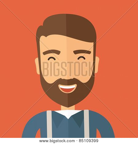 The hipster with a beard is laughing. Fun concept. Vector flat design illustration.