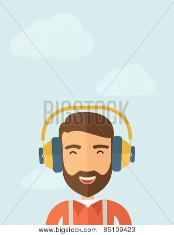 The hipster with a beard is listenning to music. Fun concept. Vector flat design illustration. Vertical layout with a text space in a top.