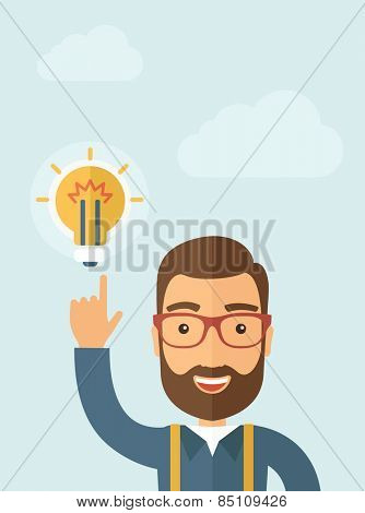 The businessman with a beard pointing to the bulb. Idea concept.  Vector flat design illustration. Vertical layout with a text space in a top.