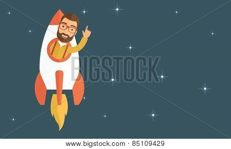 Young hipster with a beard inside the rocket flying in a space. Startup concept. Vector flat design illustration. Horizontal layout with a text space in a right.