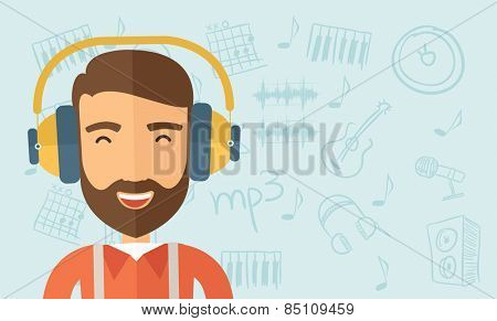 The hipster with a beard is listenning to music. Fun concept. Vector flat design illustration. Horizontal layout with a text space in a right.