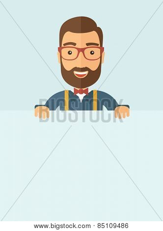 The man with a beard holding board. Vector flat design illustration. Vertical layout with a text space in a bottom.