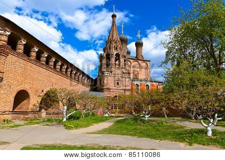 Cathedral on the historic street in Moscow Russia - Krutitskoe Compound