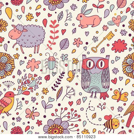 Stunning seamless pattern with animals, birds and insects in hearts and flowers. Sweet sheep, owl, bird, bee, bug, rabbit in vector. Awesome cartoon seamless pattern for lovely childish designs