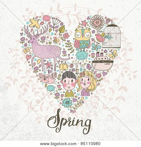 Stunning romantic card with heart made of flowers, couple of lover, ship, owl, deer, birds, stars and hearts in bright colors in vector. Awesome spring concept background for romantic design