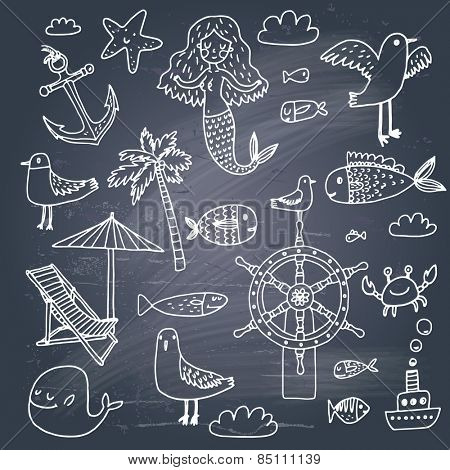 Stunning vacation concept set in vector - palm, mermaid, fish, seagull, steering wheel, crab, anchor, chair, ship, starfish and others. Sweet sea symbols in cartoon style