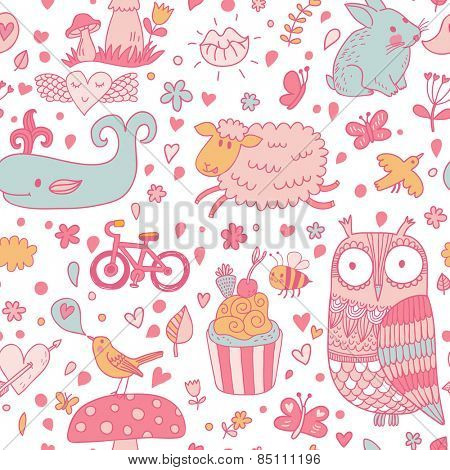 Funniest seamless pattern with sweet animals and lovely birds. Cute whale, sheep, owl, birds, rabbit, butterflies, amanita mushroom, cupcake, bee and bicycle in vector