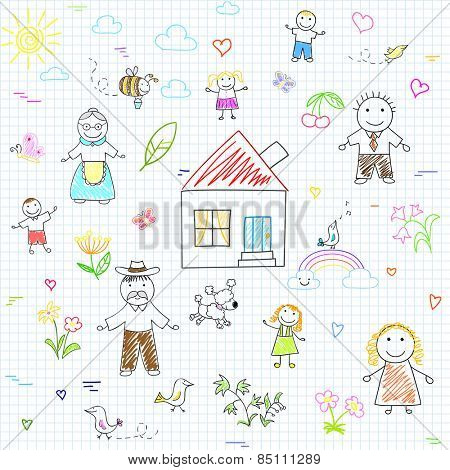 Vector seamless background with happy family. Sketch on notebook page