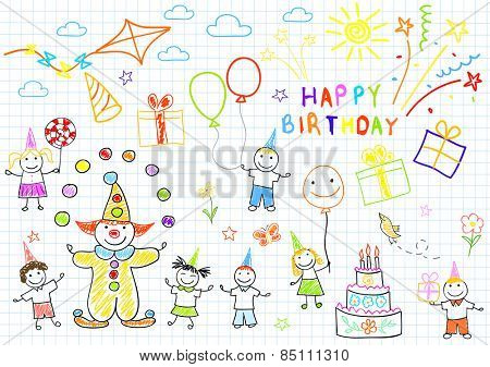 Happy birthday. Sketch on notebook page