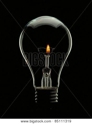 Bulb lamp with candle inside.Saving energy concept.
