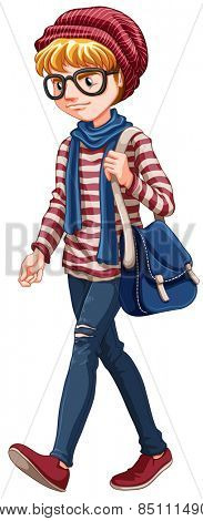 Male hipster carrying a handbag