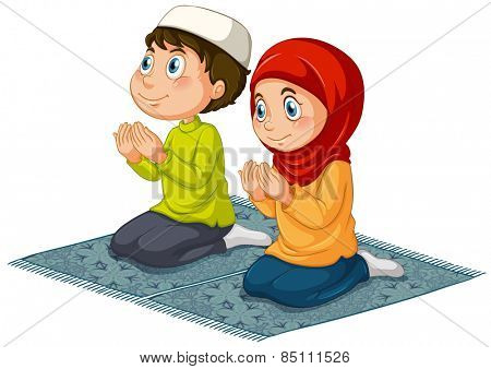 Two muslims praying on the carpet