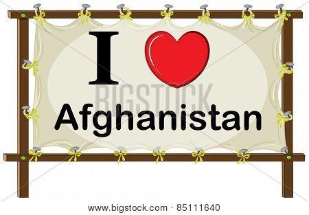 I love Afghanistan in wooden frame