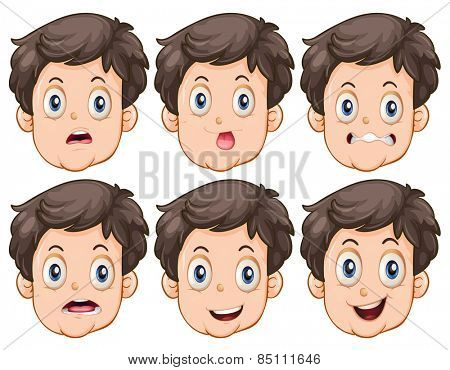 Different facial expressions of the man